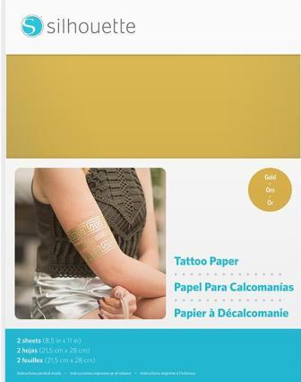 image about Silhouette Printable Tattoo Paper referred to as Inkjet Printable: Tattoo Paper - Gold printable (inkjet)